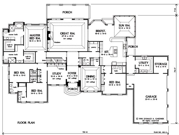One story plan with possibilities: I like the kitchen with a window to the outside; Needs mom's office; Sunroom needs to be a larger 2nd family room