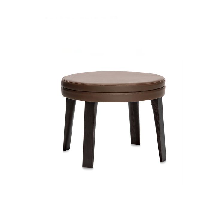 PONZA POUF, design Gordon Guillaumier. Collection of padded chairs upholstered in soft leather, legs in ash wood.