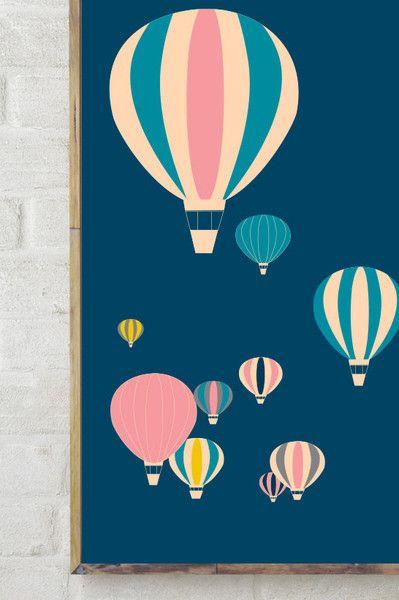 Balony latające - Szare-Kropki - Plakaty dla dzieci