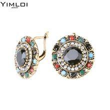 YIMLOI Vintage Jewelry Trendy Bohemia Crystal Earrings For Women Gold Mosaic Resin Earrings Style Wholesale Drop