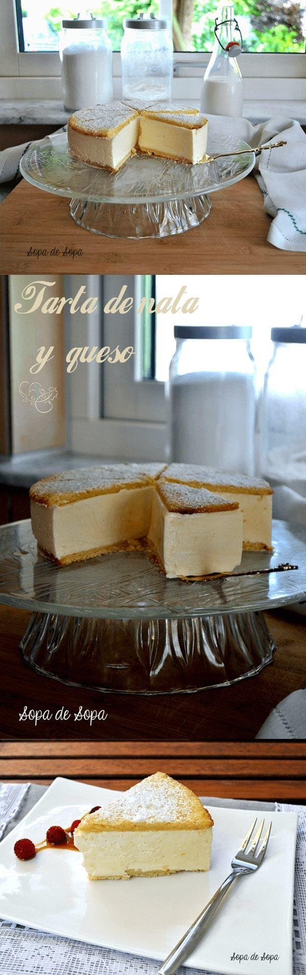 Tarta de queso y nata, con base de galleta, y relleno de requesón, leche, gelatina y nata.