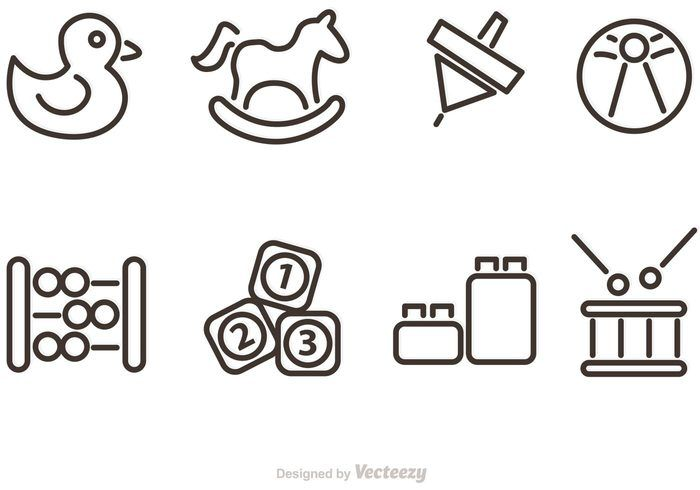 Free vector Outlined Baby Toy Vector Icons #19921