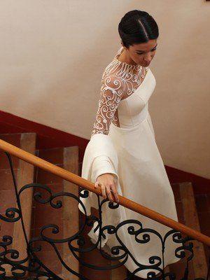 La boda de Clara, con vestido de Teresa Palazuelo.