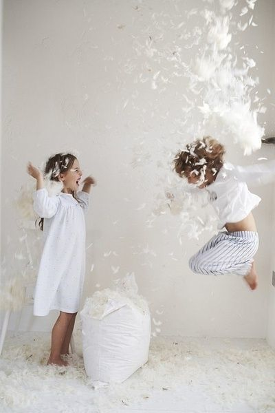 Pillow fight brother sister photo shoot idea