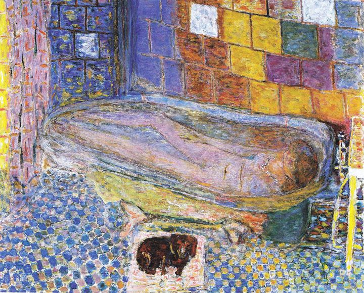 I once saw an exhibition (where? no idea) full of Bonnard's paintings of his wife Marthe in the bathtub... Glorious colour (even though the real bathroom tiles were black & white)...