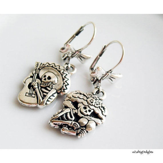 Sugar Skulls Earrings, Day of the Dead Sombreros Guitars Maracas, Halloween, Dia De Los Muertos, Silver Bow Wires  $24
