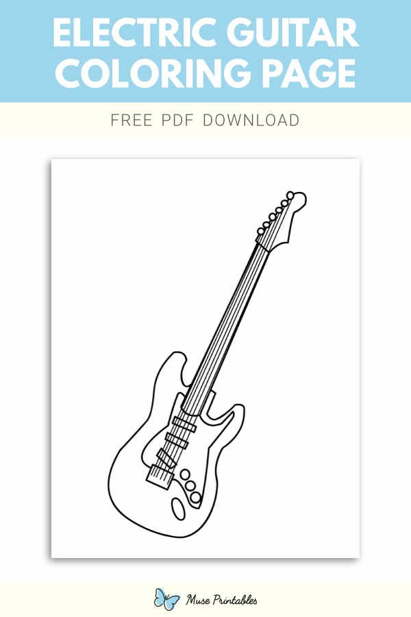 Free Electric Guitar Coloring Page In 2020 Coloring Pages Electric Guitar Guitar