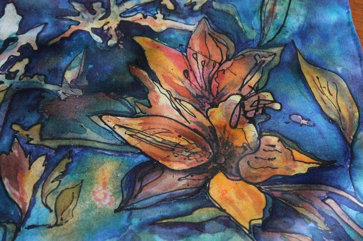 Hand painted onto silk