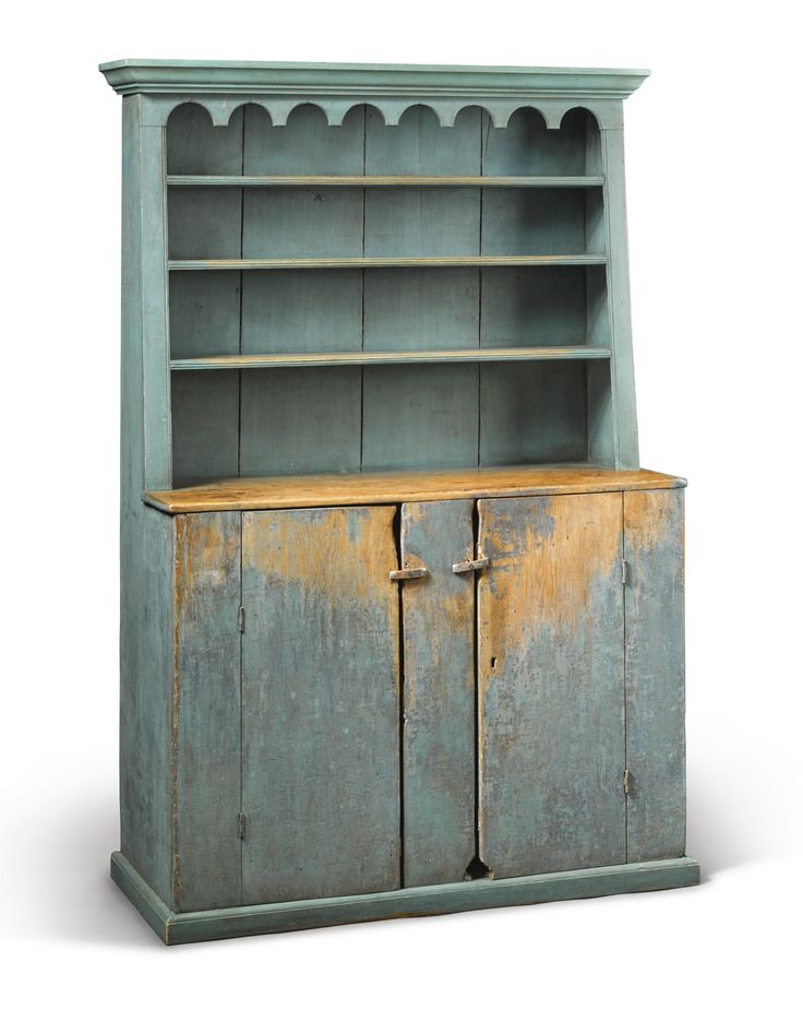 Blue Painted Pine Step-Back Cupboard, New England, circa 1790 cornice  replaced. Primitive FurniturePrimitive AntiquesPrimitive ... - 465 Best Primitive Cupboards Images On Pinterest Cupboards