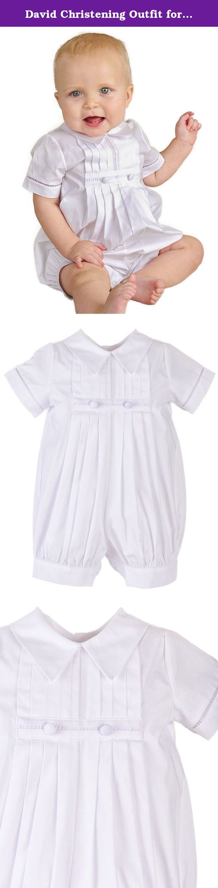 David Christening Outfit for Boys (12 Months). This David Christening Outfit is a classic, elegant boys christening outfit in summer-weight cotton lawn is all-boy without being too plain. It's also ideal for baptism and blessing outfits.