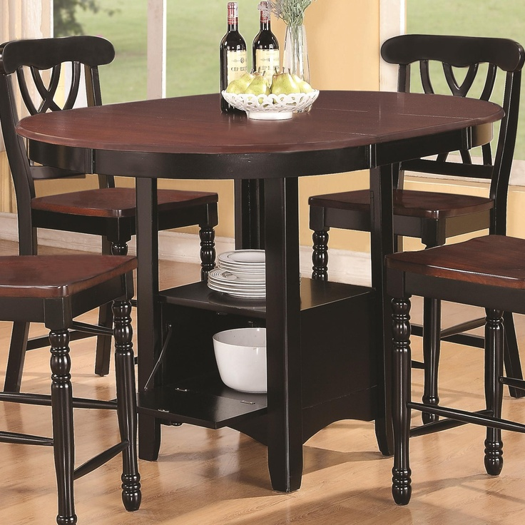 Coaster Furniture 102228 Addison Round Counter Height Table With One  Extension Leaf U0026 Storage Pedestal Base