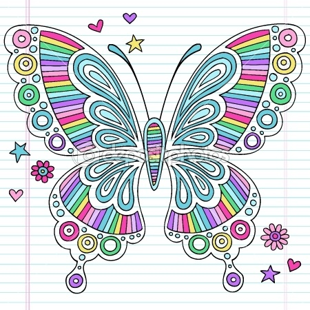Butterfly Psychedelic Notebook Doodle