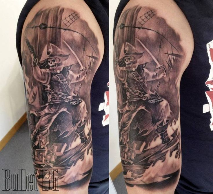 pirate sleeve tattoo pictures at eu pinterest tribal cross tattoos and. Black Bedroom Furniture Sets. Home Design Ideas