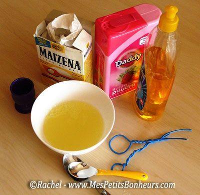 Recette de mélange pour bulles de savon sans ammoniaque, ni glycérine: eau, sucre, liquide vaisselle et fécule de maïs!