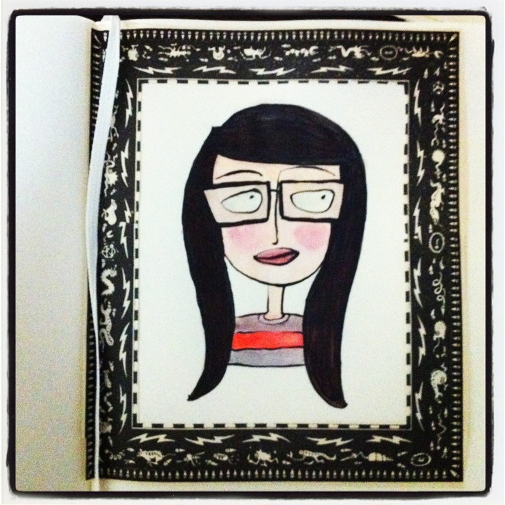 """Tiziana Solito. Self Portrait. Collage, acrylic and markers. Finalist for """"Author a Month"""" by Moleskine. For vote https://m.facebook.com/%23!/photo.php?fbid=10151699770317049=132777712048=a.315511077048.178953.132777712048&__user=1094174218"""