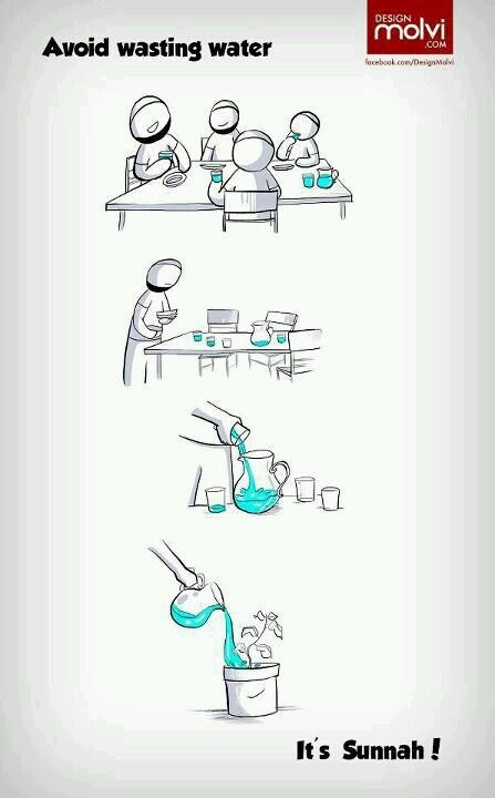 Sunnah - avoid wasting water. Islam.