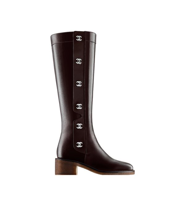 Calfskin high boots with CC... - CHANEL