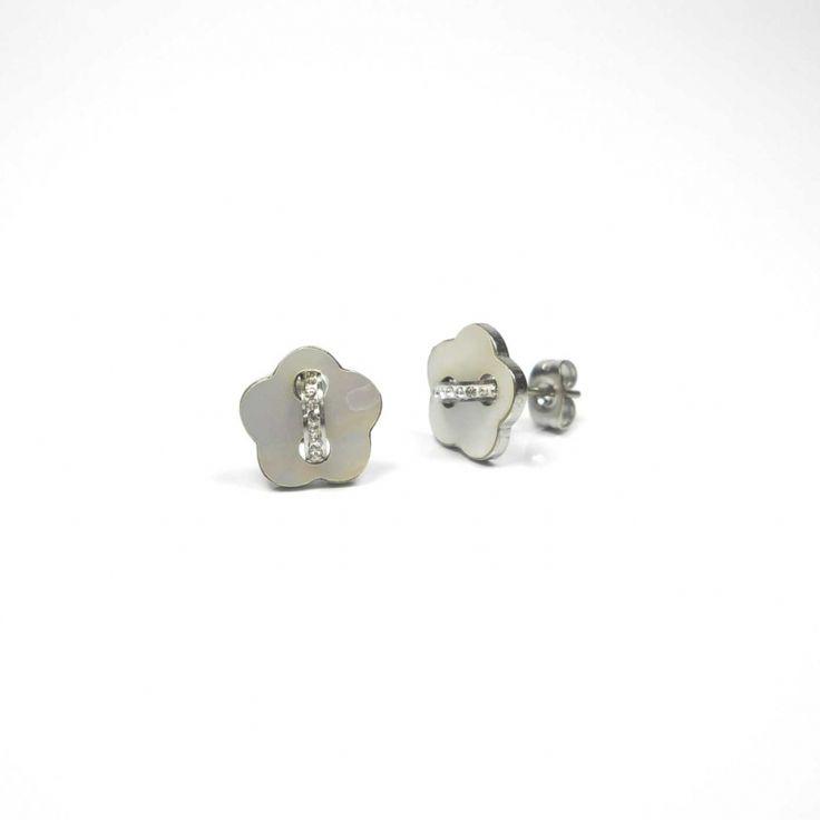 Pendientes moda mujer aretes capazo de gancho de acero inoxidable color plata flor de nacar y circonitas - BisuteriaDeModa.es