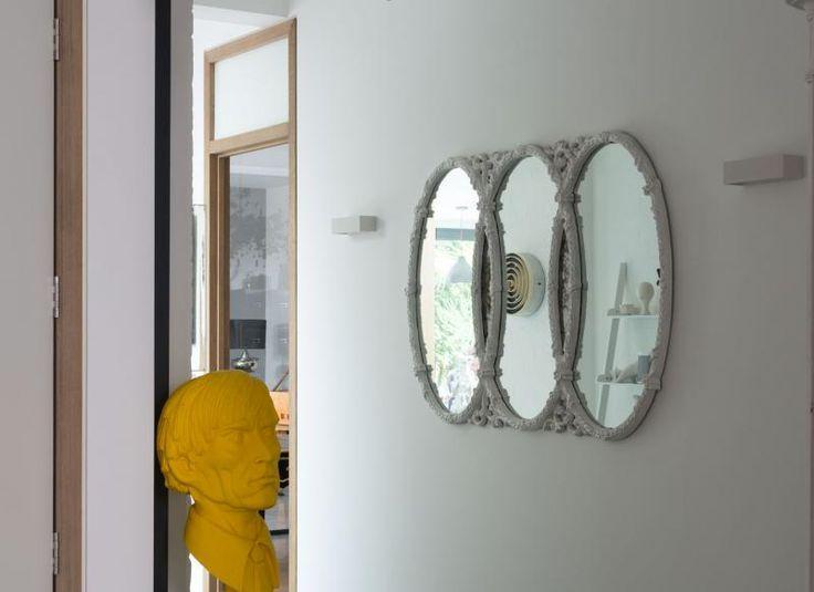 Modern Hallway with Yellow Andy Warhol Bust