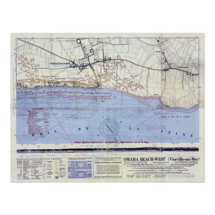 Vintage Map Of The Omaha Beach Landings 1944 Poster Zazzle Com D Day Map Vintage Map Map