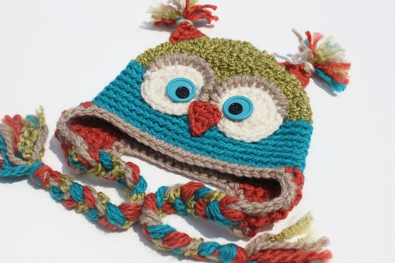 Crochet Cutest Textured Soft Owl Hat for Boy or Girl / Apple Green/ Turquoise/ Copper/ Beige  - size Newborn - 5T - Made To Order via Etsy