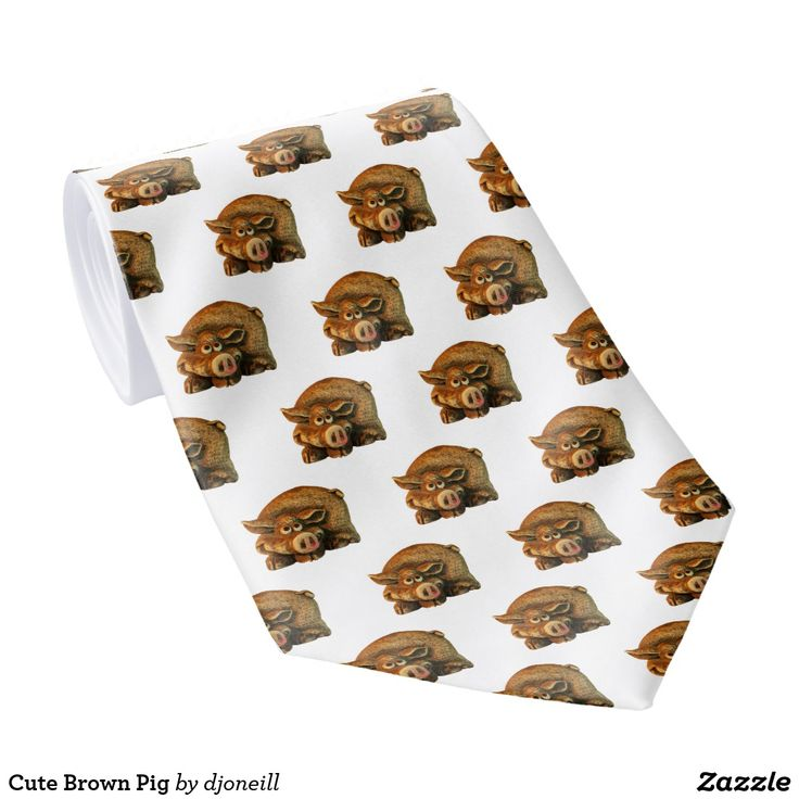 Cute Brown Pig Neck Tie.  Your guy might go hog wild over this sly smiling piggy. very cute animal. You don't have to be a chauvinist to wear this but it might help. (just kidding) all you need is a sense of humor and a shirt with a collar. Snort twice if you find truffles