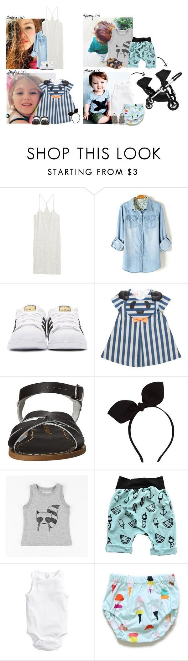 """""""Around the City and Shopping //Boaventura Family// December 29th, 2016"""" by crazyhat15 ❤ liked on Polyvore featuring H&M, adidas Originals, Salt Water Sandals, Bonpoint, Baby Jogger, boaventurafamily and familytripbrazil"""