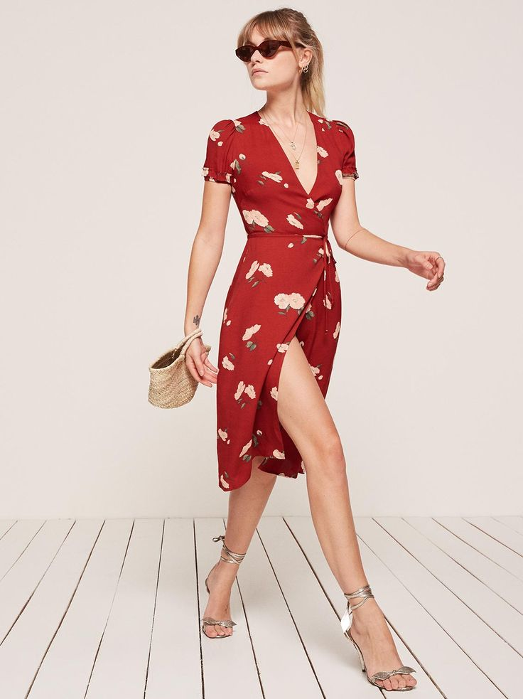 Addy red floral wrap dress Reformation