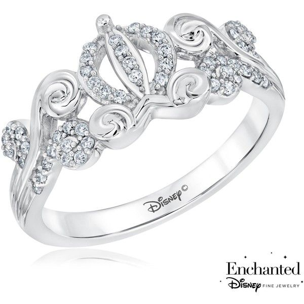 Enchanted Disney Diamond Cinderella's Carriage Ring 1/10ctw ($345) ❤ liked on Polyvore featuring jewelry, rings, fine jewelry diamond rings, heart ring, heart diamond ring, heart shaped rings and disney jewellery
