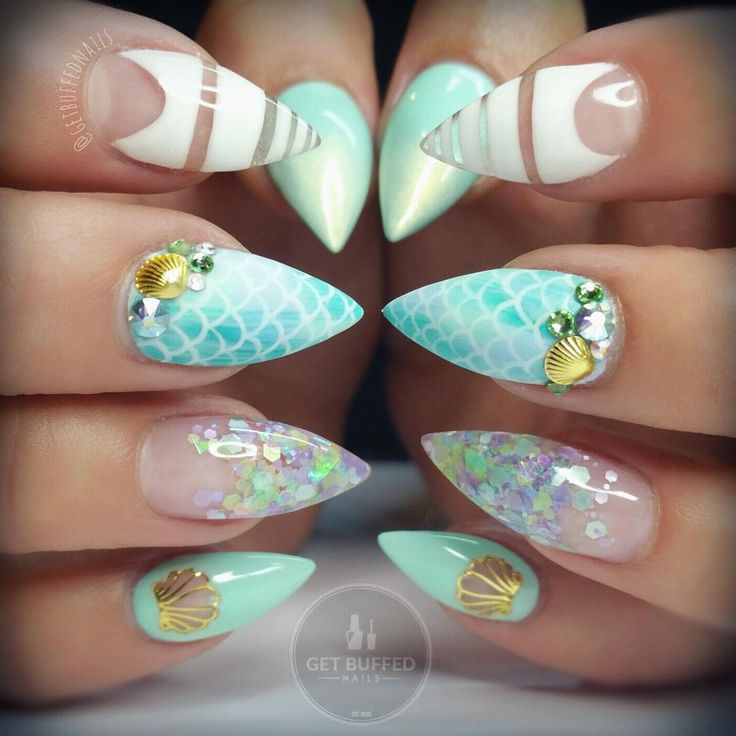 Tiffany Blue and White Mermaid Inspired Stiletto Nails With Gold Seashells and Glitter