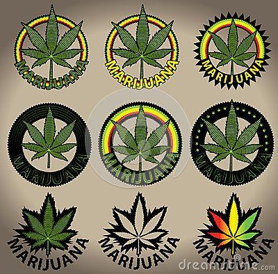 Marijuana ganja cannabis leaf stamps