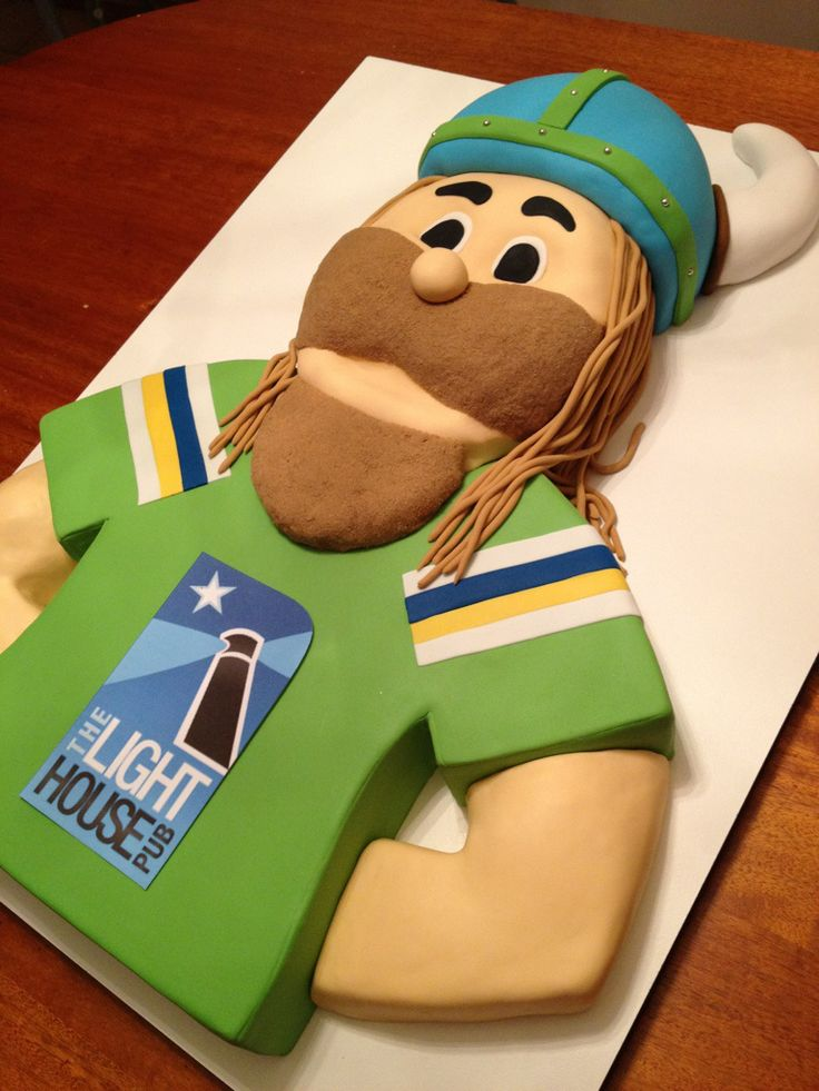 Canberra Raiders cake:  Victor the Viking from partycakescanberra.com