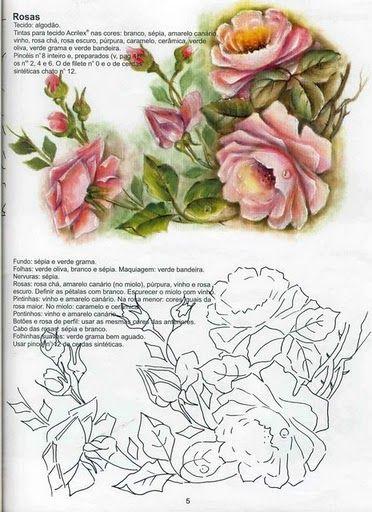 Pintura em Tecido Passo a Passo: Pintura e risco de rosas