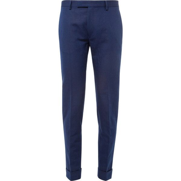 Gant Rugger Slim-Fit Linen and Cotton-Blend Suit Trousers (230 BGN) ❤ liked on Polyvore featuring men's fashion, men's clothing, men's pants, men's dress pants, blue, mens slim fit dress pants, mens zip off pants, mens slim fit pants, mens slim dress pants and mens rolled up pants
