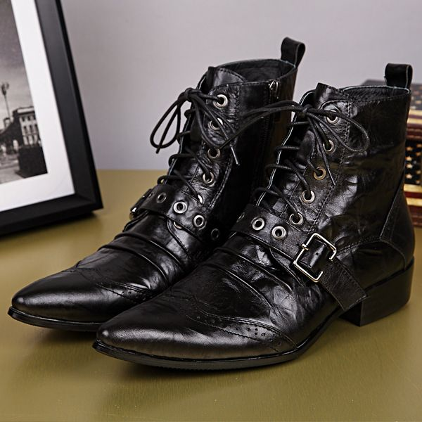 New Motorcycle Boots Brand Full Grain Genuine Leather Men Boots Pointed Toe With Metal British Style Side zipper Ankle Boots-in Men's Boots from Shoes on Aliexpress.com | Alibaba Group