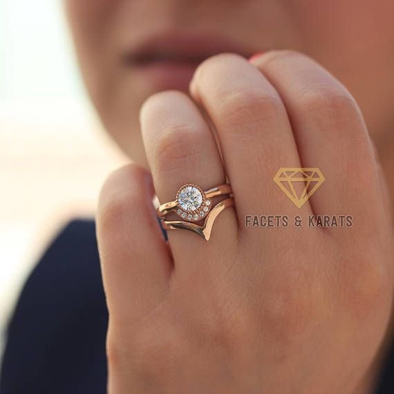 18k Rose Gold Bohemian Engagement Ring With Matching Nesting V
