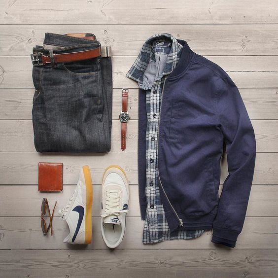 Sunday in review. Watch: @hamiltonwatch Khaki Field Auto Shirt: @grayers Denim: @shockoe_atelier Slim Como Jacket: @topman Wallet: @blackbearleather Shoes: @nike for @jcrew Killshot 2 Glasses: @rayban Belt: @jcrew by thepacman82