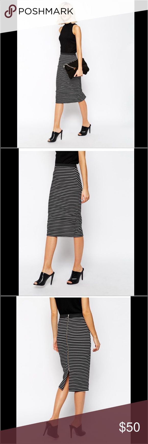 NWOT RIVER ISLAND ASOS STRIPE MIDI PENCIL SKIRT 2 NWOT AUTH RIVER ISLAND ASOS BRAND BLACK WHITE JERSEY MONO STRIPE MIDI PENCIL SKIRT BACK ZIP WMNS SZ 2 $68 100% Authentic RIVER ISLAND ASOS BRAND  Size: WOMENS size 2 (REG) Color: Black, white stripe Condition:  New without tags, store display; *see photos for specific detail Material:  96% POLYESTER, 4% ELASTANE; PRODUCT CODE: 619243 Made in  Combined shipping discount with purchase of additional items. All items come from a CLEAN, SMOKE-FREE…