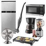 Insignia™ - Stainless Microwave, Mini Fridge, 2-in-1 Vacuum, Fan, Coffee Maker, Electric Griddle and Blender Package