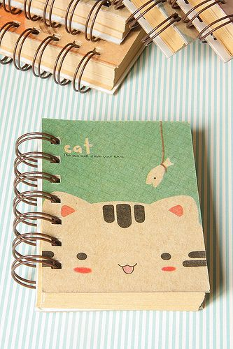 Kawaii Illustration -- cat & diary, me wants!