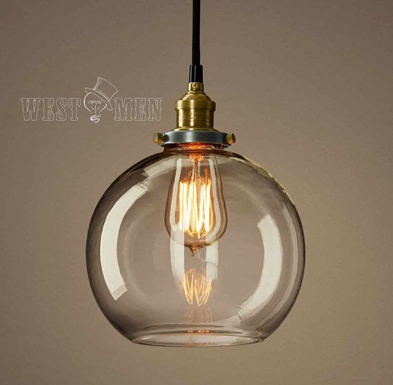 Retro glass ball pendant lamp vintage open bubble ceiling for Pendulum light globes