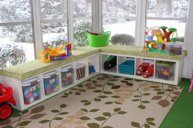 Our Playroom in the Sunroom - organizingforsix.blogspot.com