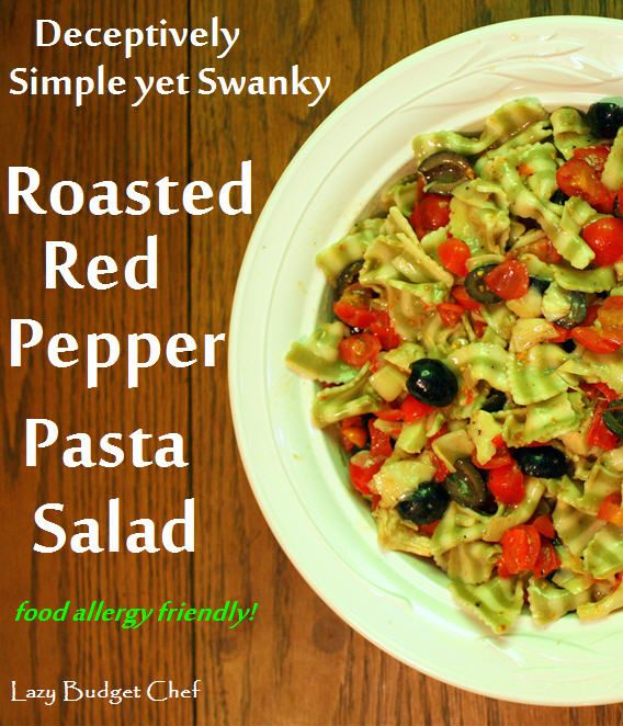 and simple red pepper, black olive, artichoke, and tomato pasta salad ...