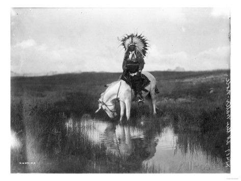 Cheyenne Indian, Wearing Headdress, on Horseback Photograph Poster von Lantern Press bei AllPosters.de