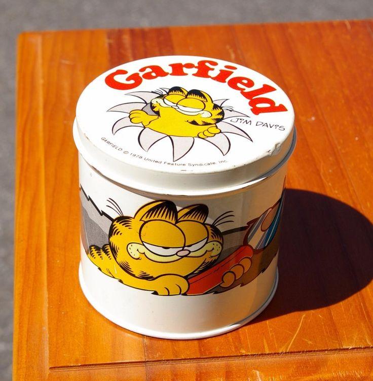 "Garfield The Cat 3 1/2"" Tall Empty Metal Tin Jim Davis by Cheinco Made in USA    eBay"