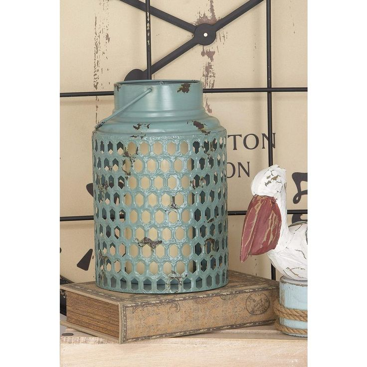 12 in. x 8 in. Rustic Iron Candle Holder with Honeycomb Patterns, Multi