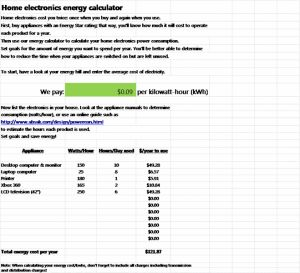 The electricity monitoring devices are available at different hardware stores, but the use of electronics energy calculator is most efficient. You should know about the electricity consumption of each electronic device. Usually, only larger electronic appliances, like a washing machine and refrigerator have information about the energy consumption.