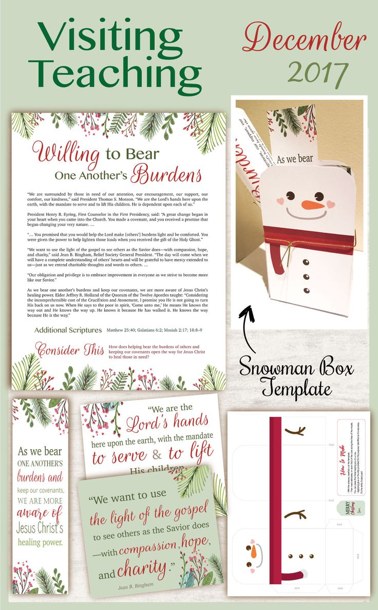 December 2017 Visiting Teaching Message, lds Printable, Christmas Favor, Quotes LDS, VT LDS handouts, snowman box template, Relief Society