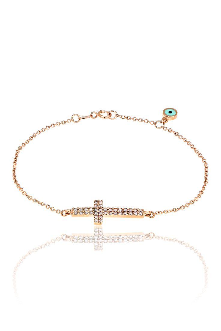 Βραχιόλι με λευκά cz από ροζ χρυσό 9Κ.  Bracelet with white cz made by 9K pink gold. Price : 170€