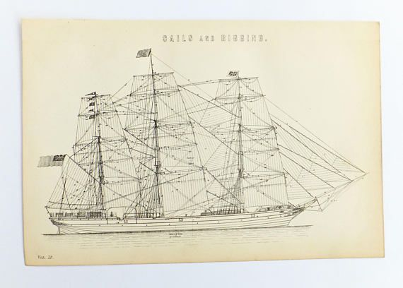 Sails Rigging Sailing ship Black and White Print Antique
